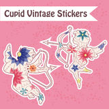 Set of vintage Cupid stickers Royalty Free Stock Image