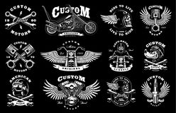 Set with 12 vintage biker illustrations on dark background. Set of vintage custom motorcycle design templates. All elements, text are on the separate layer Stock Photography