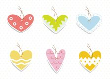 Set of vintage cute frames in heart shape Stock Photo
