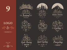 Set Vintage Cycling and Bicycle Sign and Badges Royalty Free Stock Photo