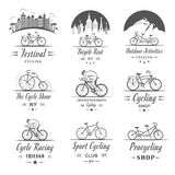 Set Vintage Cycling and Bicycle Sign and Badges Stock Images