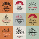 Set Vintage Cycling and Bicycle Sign and Badges Stock Photography