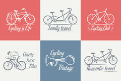 Set Vintage Cycling and Bicycle Sign and Badges Stock Photos