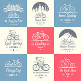 Set Vintage Cycling and Bicycle Sign and Badges Stock Photo