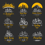 Set Vintage Cycling and Bicycle Sign and Badges Royalty Free Stock Images