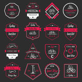 Set Vintage Cycling and Bicycle Sign and Badges Royalty Free Stock Image
