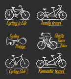 Set Vintage Cycling and Bicycle Sign and Badges Royalty Free Stock Photography