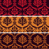 Set of vintage damask horizontal banners Royalty Free Stock Photos