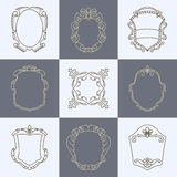 Set of vintage decoration elements, flourishes borders and frames. Stock Images