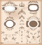 Set of Vintage Decorations Elements. Baroque Ornaments and Frame Royalty Free Stock Image