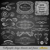 Set of Vintage Decorations Elements.Flourishes Calligraphic Ornaments and Frames with place for your text. Retro Style stock image