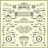 Set of Vintage Decorations Elements. Flourishes Calligraphic Ornaments and Frames. Retro Style Design Collection for Invitations, Royalty Free Stock Photos