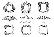Set of Vintage Decorations Frame Elements. Flourishes Calligraphic Ornaments, Borders and Frames. Retro Style Collection royalty free illustration