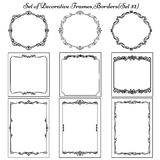 Set of vintage decorative borders and frames. Decorative background with vintage designs and frames Stock Images