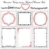Set of vintage decorative borders and frames. Decorative background with vintage designs and frames.Valentine set Royalty Free Stock Images