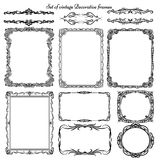 Set of vintage decorative borders and frames. Stock Photo