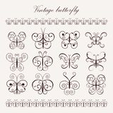 Set of vintage decorative butterflies Stock Photography