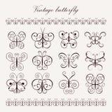 Set of vintage decorative butterflies Stock Photography