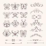 Set of vintage decorative butterflies Royalty Free Stock Photos