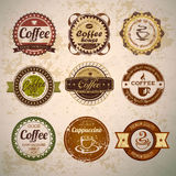 Set of vintage decorative coffee labels Royalty Free Stock Images
