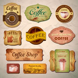 Set of vintage decorative coffee labels Stock Photo