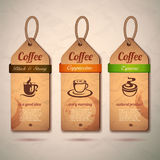 Set of vintage decorative coffee labels Stock Image