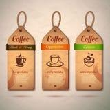 Set of vintage decorative coffee labels Stock Image