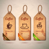 Set of vintage decorative coffee labels Royalty Free Stock Photos