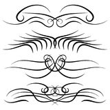 Set of vintage decorative curls, swirls, monograms and calligraphic borders. Line drawing design elements in black color on white background. Vector Stock Photo