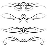 Set of vintage decorative curls, swirls, monograms and calligraphic borders. Line drawing design elements in black color on white background. Vector Royalty Free Stock Image