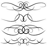 Set of vintage decorative curls, swirls, monograms and calligraphic borders. Line drawing design elements in black color on white background. Vector Stock Photos