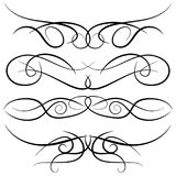 Set of vintage decorative curls, swirls, monograms and calligraphic borders. Line drawing design elements in black color on white background. Vector Stock Photography