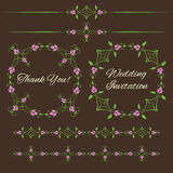 Set of vintage decorative  floral design elements Royalty Free Stock Photo