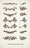 Set of vintage decorative patterns. On grunge backgound.  illustration Stock Photos