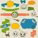 Set of vintage deign elements about Halloween. Stock Photography