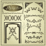 Set of vintage design elements. Set of luxury decorative vintage elements and borders, page decoration for design Royalty Free Stock Images
