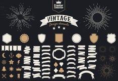 Set of 74 vintage design elements. Design elements for logos, badges, labels. Icons, ribbon banners, light rays. Template. Vector vector illustration