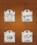 Set of 4 vintage design elements seafood: lobster Royalty Free Stock Images