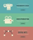 Set of vintage digital arts themed banners Royalty Free Stock Images