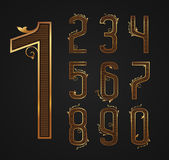 Set of vintage digits from 0 to 9. Stock Photos