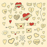 Set of vintage doodle hearts Royalty Free Stock Photography