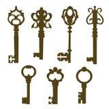 Set of vintage door keys silhouette Stock Photo