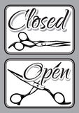 Set of vintage door signs for barber shop with scissors. Set of retro door signs for barber shop with scissors Stock Images