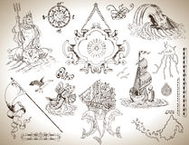 Set of vintage drawings with banner, old ship and sea symbols for maps, cards. Design set of vintage graphic drawings with banner, sailing ships and sea symbols Royalty Free Stock Photos