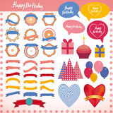 Set of vintage elements, birthday holiday party Royalty Free Stock Photography