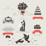 Set of vintage elements for wedding invitation Stock Image