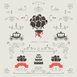 Set of vintage elements, wedding invitation, frame, borders  Royalty Free Stock Image