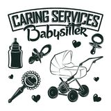 Set for vintage emblem design. With monochrome signs of baby pacifier and rattle, baby carriage and bottle, elements for babysitter logo design, isolated on Royalty Free Stock Photos