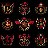 Set of  vintage emblems created with decorative elements l Stock Photo