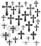 Set of vintage engraving crosses with flourishes Royalty Free Stock Photos